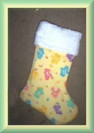 Handmade Christmas Stocking ~ Colorful Carebears FREE US AND CANADA SHIPPING