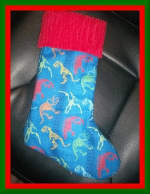 Handmade Christmas Stocking ~ Dinosaur Bones FREE US AND CANADA SHIPPING