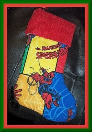 Handmade Christmas Stocking ~ Spiderman Patch FREE US AND CANADA SHIPPING