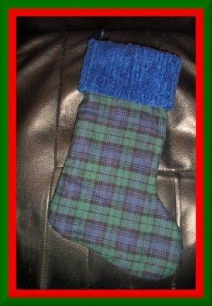 Handmade Christmas Stocking ~ Daddys Black & Blue Plaid