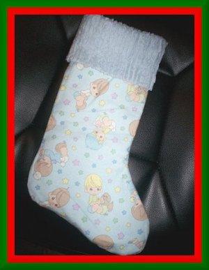 Handmade Christmas Stocking ~ Blue Precious Moments