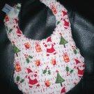 Handmade Christmas Baby Bib ~ Funky Santa & Presents