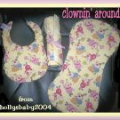 FREE SHIPPING Clownin' Around Baby Shower Gift Set w/ Bib Burp Pad Cloth & Diaper Bag Changing Pad