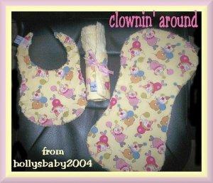 FREE SHIPPING Clownin' Around Baby Shower Gift Set w/ Bib Burp Pad Cloth & Diaper Bag Changing Pad