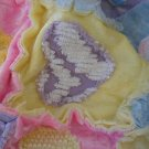Valentine Hearts Vintage Chenille Crushed Panne Velvet Baby Quilt