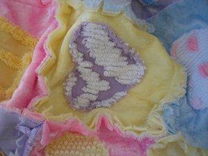 Valentine Hearts Vintage Chenille Crushed Panne Velvet Baby Quilt