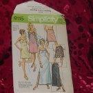 Slip Pattern Simplicity 9115 1970s slips pattern size 14