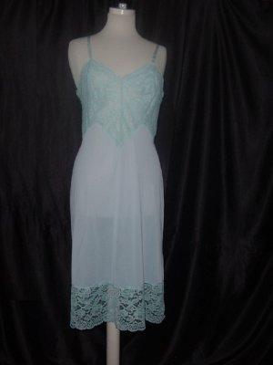 Slip Blue Whole Slip Vintage Super Lace bodice lace hem Tall Full Slip Dress Bust 36
