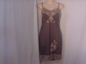 Vintage slip Gunmetal Green Tan Lace Whole Slip Dress Full slip Dress Bust 34  (S L A)