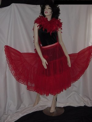Lipstick Red Vintage can can Malco Modes Sheer chiffon crinoline half slip nylon S L A