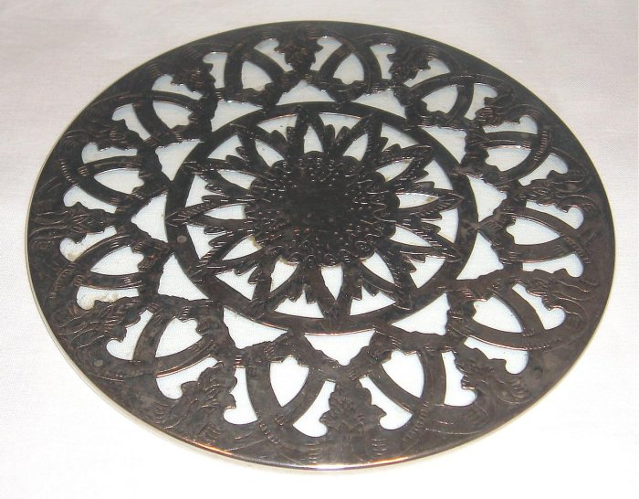 Pierced Silverplate & Glass Trivet