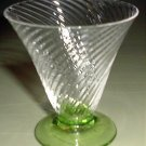 Elegant Vintage Wine or Cocktail Glass Crystal with a Green Foot