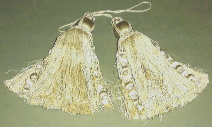 FINE PAIR NEW DRAPERY TIEBACKS, SILK TASSELS, DRAPES, MACRAME