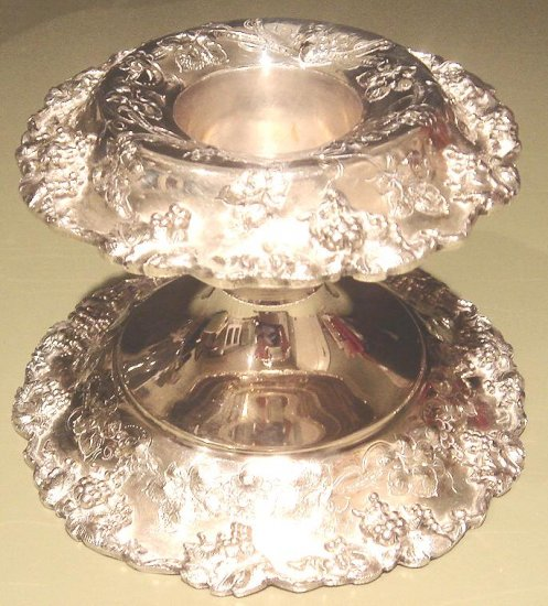 Beautiful Elaborate Silver Plated Candlestick Grapes & Grapevine
