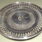 Vintage Silver Plated Round Pierced Tray C Monogram