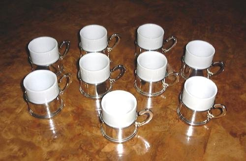 9 Demitasse Cups & Saucers Contemporary Silver Plate