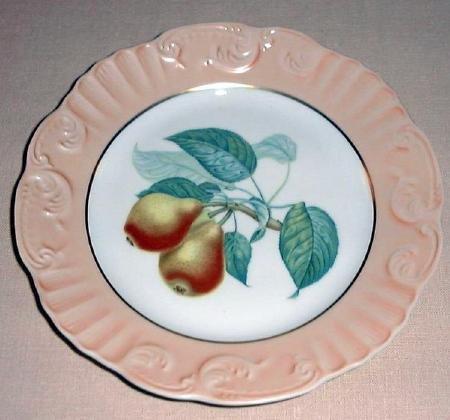 """Summer Fruit Porcelain 8"""" Plate Vista Alegre Mottahedeh PEARS Portugal"""