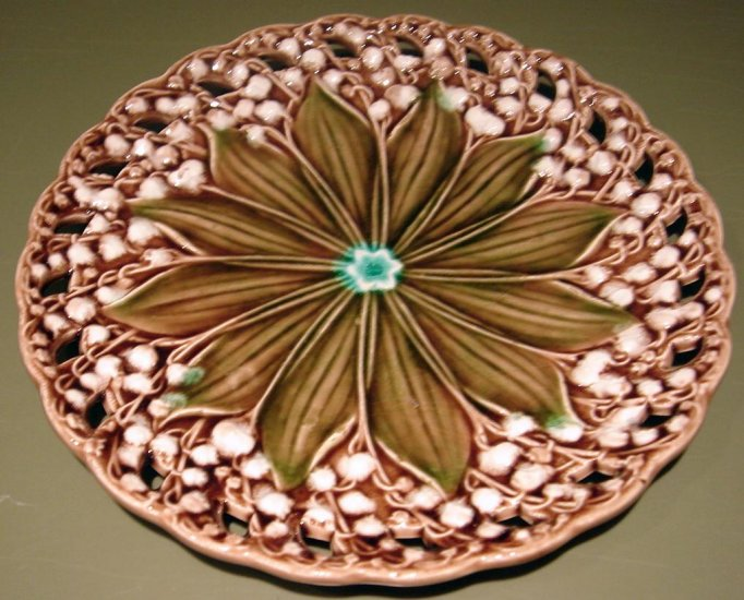Beautiful European Majolica Lily of the Valley Plate