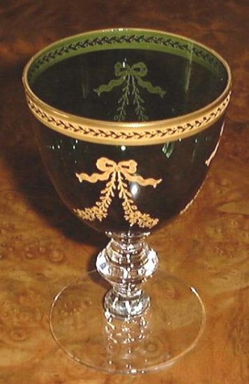 Rare BOUQUET GREEN by Tiffin Cordial or Juice Glass
