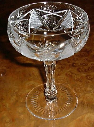 Elaborate Cut Glass Crystal Stem CHAMPAGNE or SHERBET Goblet