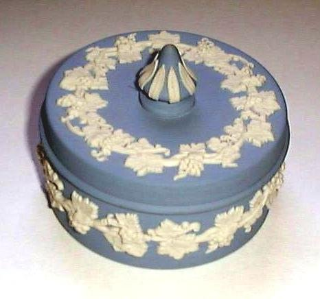 Handsome English Blue & White Wedgwood Jasperware Box England