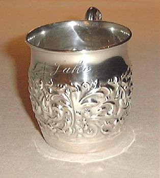 Antique Sterling Silver Baby Christening Cup Mug