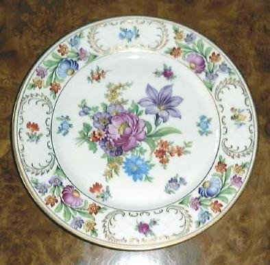 "8 3/8"" Lunceon Salad Plate DRESDEN FLOWERS Schumann Bavaria Germany"