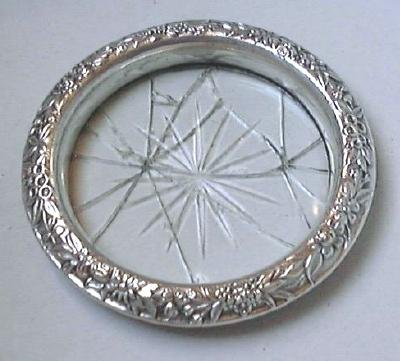 Sterling Silver Repousse & Glass Coaster as is S. KIRK