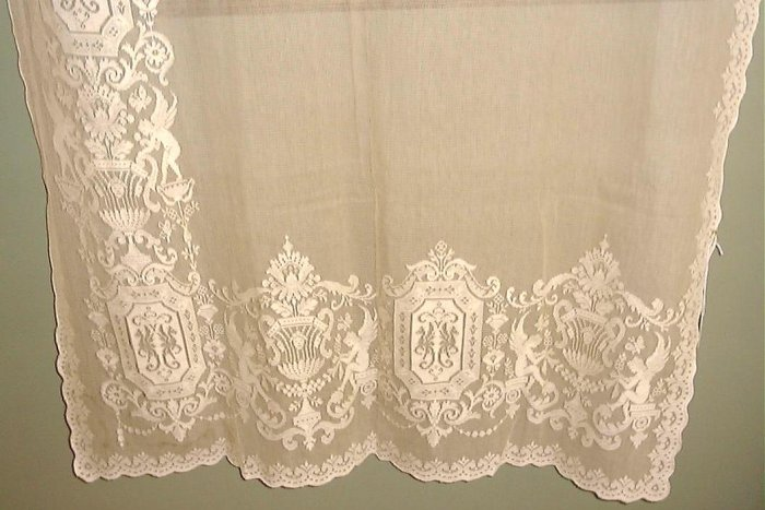 VICTORIAN LACE PANEL-EMBROIDERED NET-CHERUBS