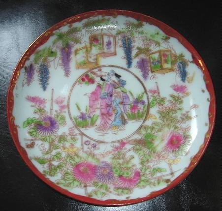 SMALL VINTAGE SATSUMA PLATE with GEISHA GIRLS