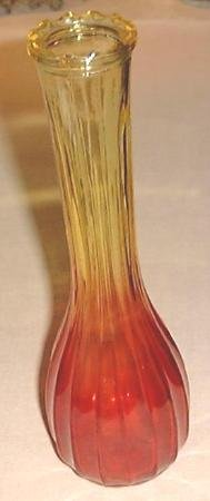 9 in Vintage Ambernina Glass Bud Vase Amber to Ruby