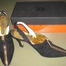 ANNE KLEIN COUTURE, BLACK SUEDE LEATHER HIGH HEELS, ITALY, 7N