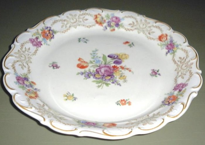 Large Dresden Flowers Chop Plate Schumann Bavaria Germany