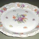 Large Dresden Flowers Chop Plate Schumann Bavaria Germany