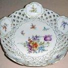 SAXE Pierced Porcelain Bowl DRESDEN FLOWERS Germany 1 of 2