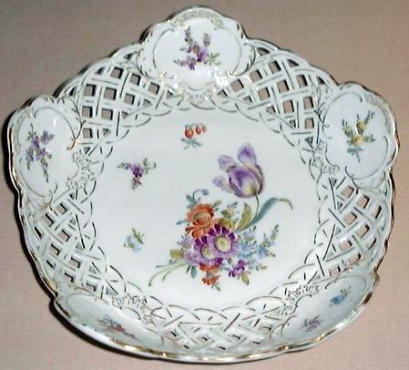 SAXE Pierced Porcelain Bowl DRESDEN FLOWERS Germany 2 of 2