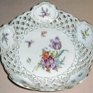 SAXE Pierced Porcelain Bowl DRESDEN FLOWERS Germany 2 of 2