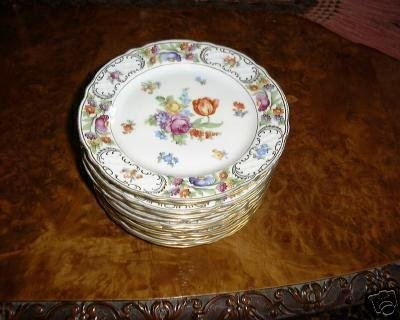 EMPRESS DRESDEN FLOWERS Salad Plate by Schumann Bavaria Germany