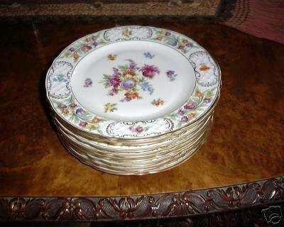 Scalloped EMPRESS Dresden Flowers Dinner Plate by Schumann