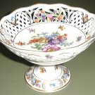 Vintage DRESDEN FLOWER Pierced Compote Schumann Bavaria Germany