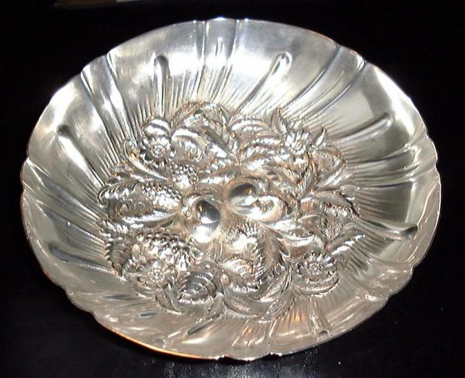 "Hand Chased Sterling Silver Repousse 9"" Berry bowl S KIRK & SON"