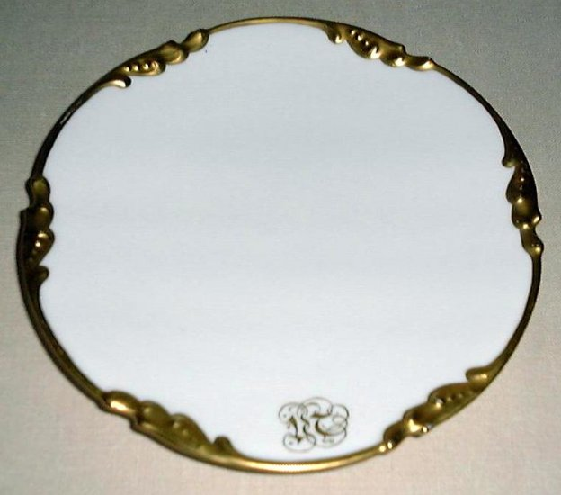 Rare Antique White & Gold Plates, set of 6 by JEAN POUYAT, Limoges, France