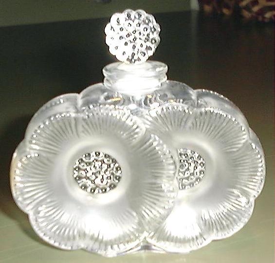 LALIQUE GLASS, TWO FLOWERS, PERFUME BOTTLE, DEUX FLEURS