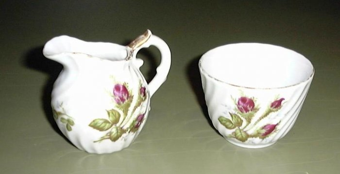 Porcelain Sugar & Creamer Roses Decorative Shabby Chic