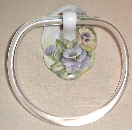 Hand Painted Porcelain Towel Holder Pansies Artist Signed