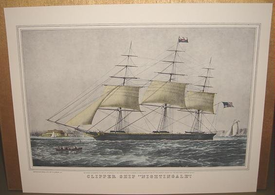 Currier & Ives Print Ocean CLIPPER SHIP NIGHTINGALE
