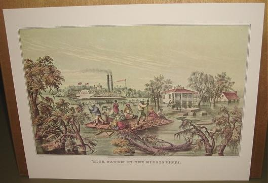 Currier & Ives Print HIGH WATER IN THE MISSISSIPPI Boat