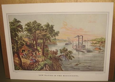 Currier & Ives Print LOW WATER IN THE MISSISSIPPI Boats