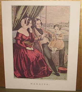 Currier & Ives Print MARRIED Victorian genre