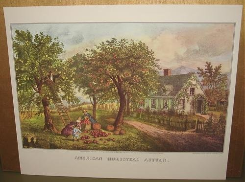 Currier & Ives Print AMERICAN HOMESTEAD AUTUMN Country